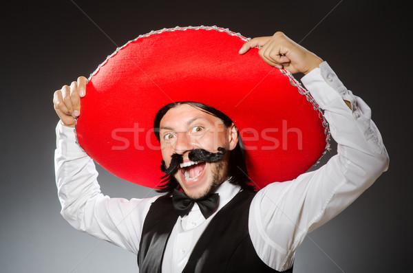Mexican uomo sombrero isolato bianco felice Foto d'archivio © Elnur