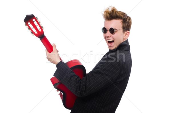 Homem guitarrista isolado homem branco branco música Foto stock © Elnur
