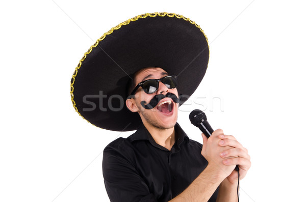 Funny man wearing mexican sombrero hat isolated on white Stock photo © Elnur