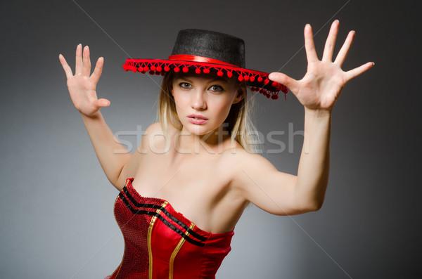 Mulher sombrero seis engraçado feliz Foto stock © Elnur