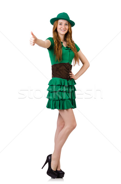 Femme saint feuille fond vert amusement Photo stock © Elnur