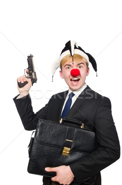 üzletember bohóc vicces izolált fehér férfi Stock fotó © Elnur