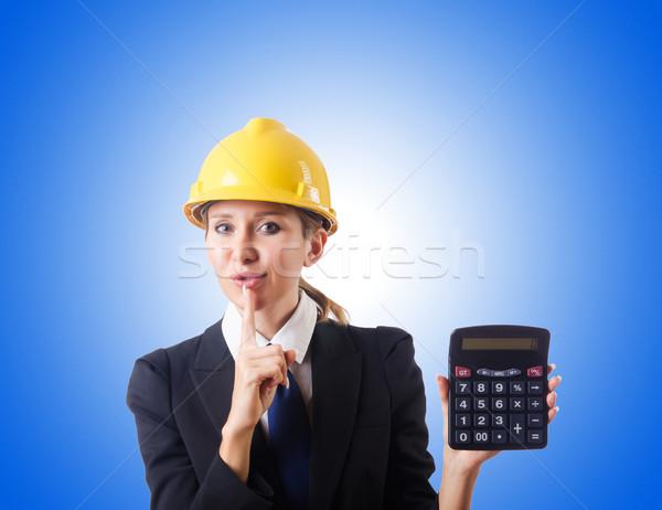 Női építőmunkás számológép nő építkezés otthon Stock fotó © Elnur