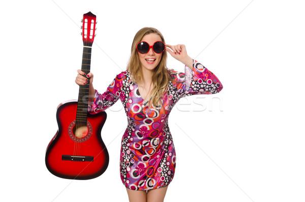 Mulher guitarrista isolado branco festa metal Foto stock © Elnur