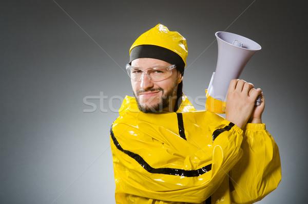 男 着用 黄色 スーツ ラウドスピーカー パーティ ストックフォト © Elnur