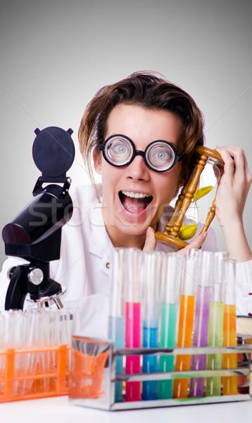 őrült nő vegyész labor munka diák Stock fotó © Elnur