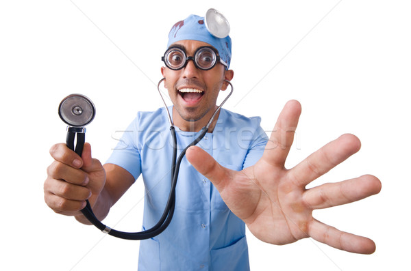 Funny doctor isolated on white Stock photo © Elnur