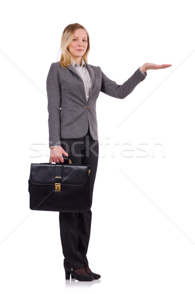 Businesswoman in gray suit isolated on white Stock photo © Elnur