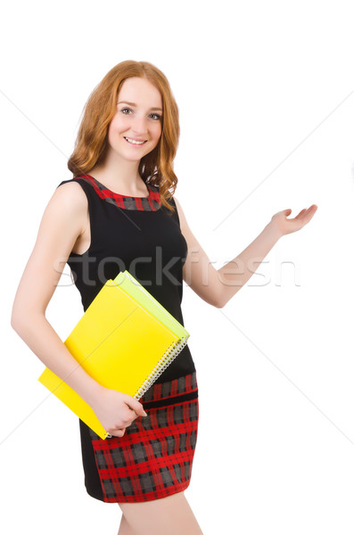 Cute girl in squared dress holding paper isolated on white Stock photo © Elnur