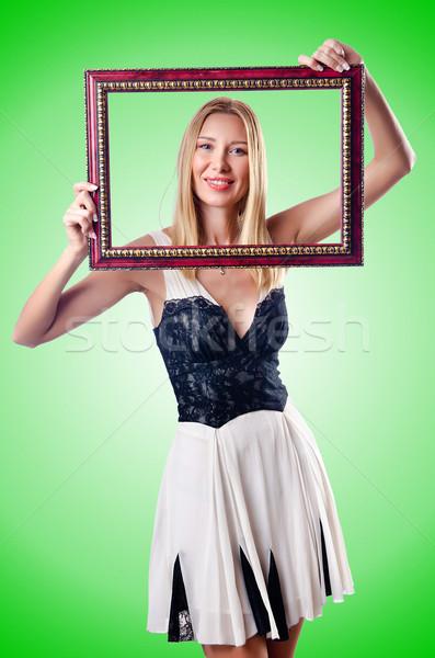 Fiatal nő képkeret fehér fa divat szépség Stock fotó © Elnur