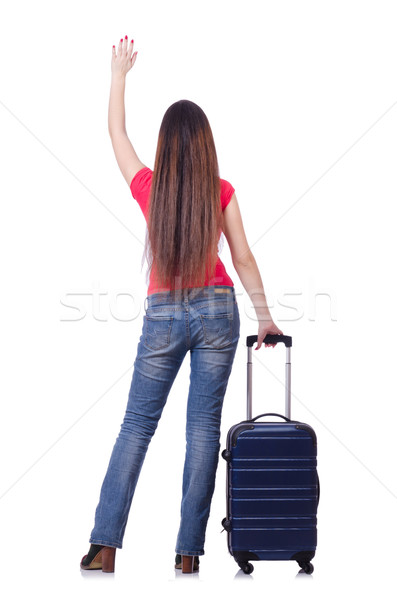 Pretty girl with suitcase isolated on white Stock photo © Elnur