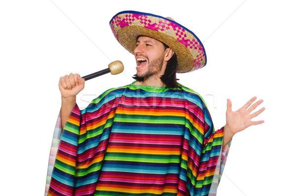 Handsome man in vivid poncho holding maracas isolated on white Stock photo © Elnur