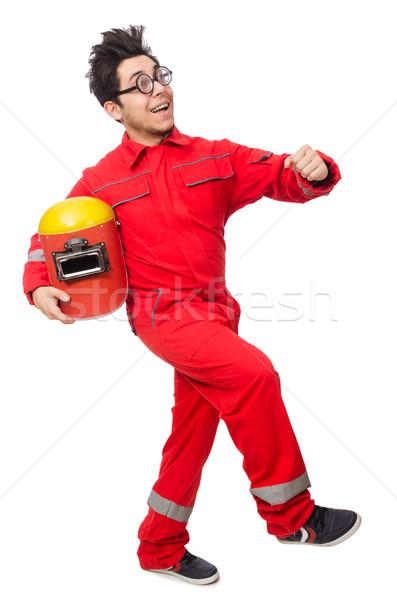 Vicces hegesztő izolált fehér férfi munka Stock fotó © Elnur