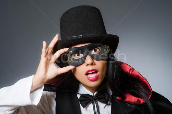 Kobieta magik funny dziewczyna maska retro Zdjęcia stock © Elnur