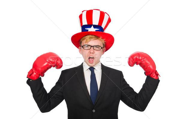 Hombre sombrero americano símbolos deporte Foto stock © Elnur