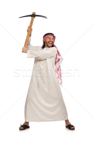 Árabe homem gelo machado isolado branco Foto stock © Elnur