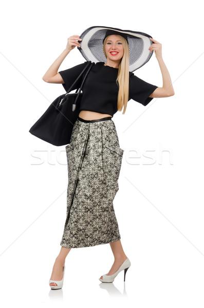 Pretty woman długo spódnica odizolowany biały dziewczyna Zdjęcia stock © Elnur