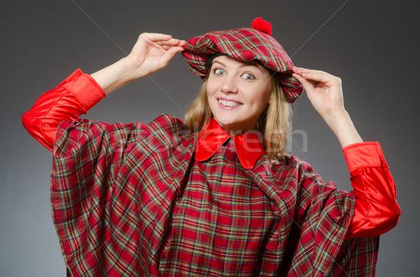 Kadın geleneksel giyim mutlu çanta Stok fotoğraf © Elnur
