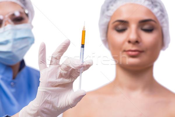 Genç kadın enjeksiyon botox yalıtılmış beyaz kadın Stok fotoğraf © Elnur
