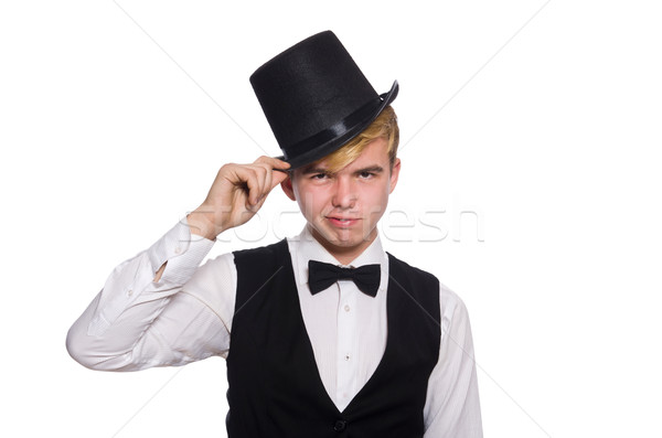 Young man in black classic vest and hat isolated on white Stock photo © Elnur
