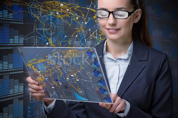 Femme d'affaires données minière ordinateur homme affaires Photo stock © Elnur