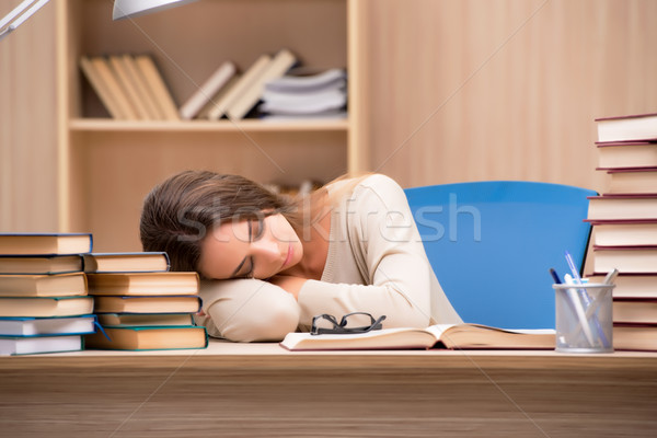 Stock photo: Young student preparing for university exams