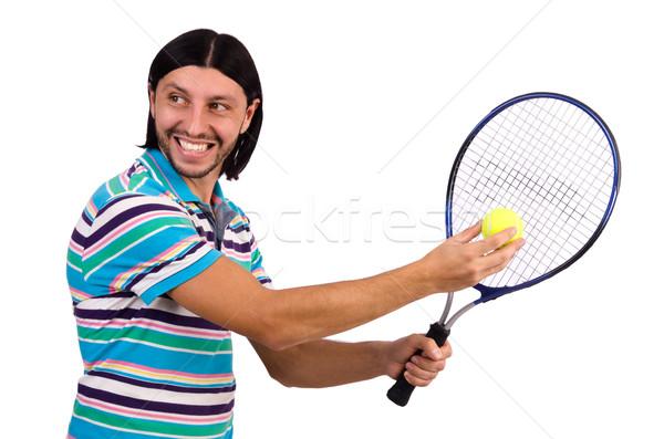 Man playing tennis isolated on white Stock photo © Elnur