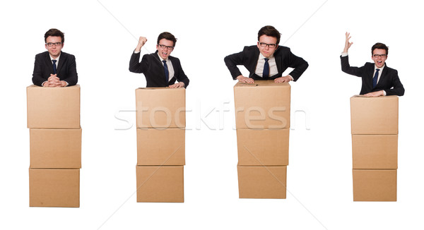 Funny man with boxes isolated on white Stock photo © Elnur