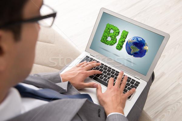бизнесмен ноутбука bio компьютер весны карта Сток-фото © Elnur