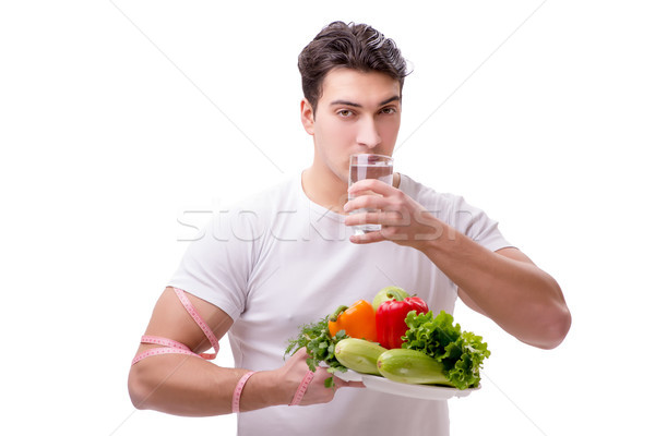 Férfi egészséges étkezés víz étel boldog gyümölcs Stock fotó © Elnur