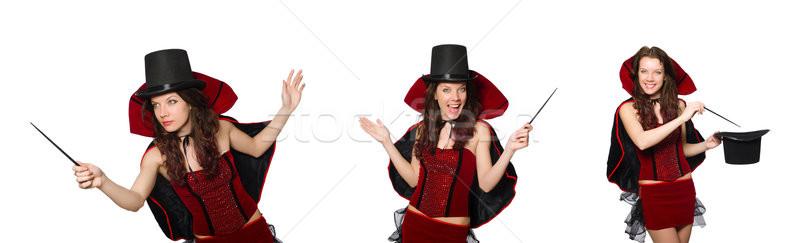Nő bűvész izolált fehér mosoly színház Stock fotó © Elnur