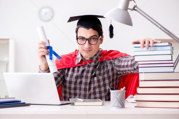 Szuperhős diák visel tanul számítógép férfi Stock fotó © Elnur