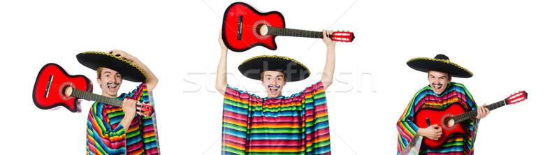 Stock fotó: Vicces · fiatal · mexikói · gitár · izolált · fehér