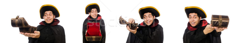 The young pirate holding chest box isolated on white Stock photo © Elnur