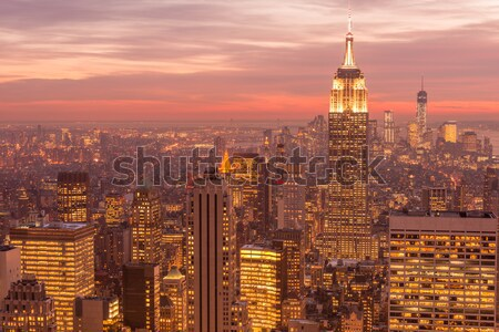 Vue New York Manhattan coucher du soleil affaires ciel Photo stock © Elnur