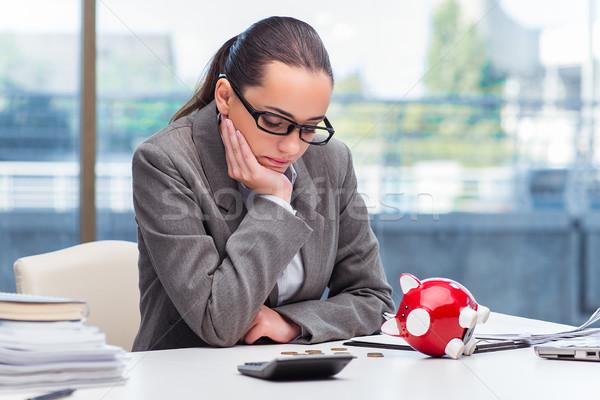 деловая женщина Piggy Bank калькулятор женщины монетами Сток-фото © Elnur