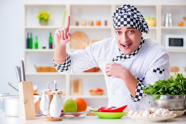 Foto d'archivio: Giovani · maschio · cuoco · lavoro · cucina · felice