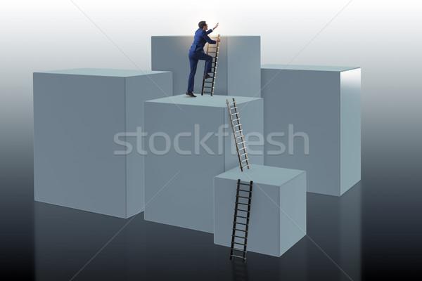 üzletember mászik kockák karrier létra üzlet Stock fotó © Elnur