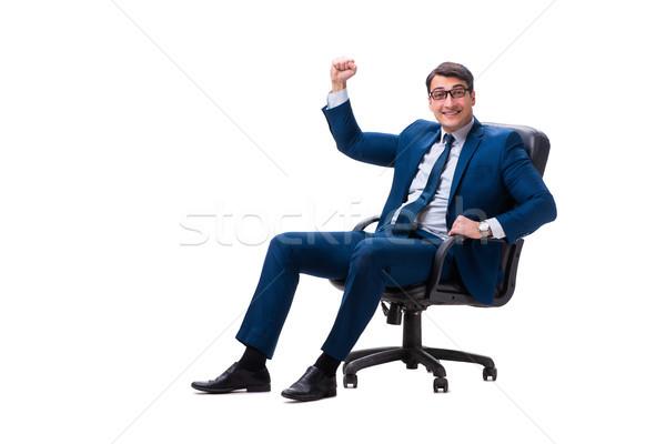 Сток-фото: бизнесмен · сидят · Председатель · изолированный · белый · счастливым