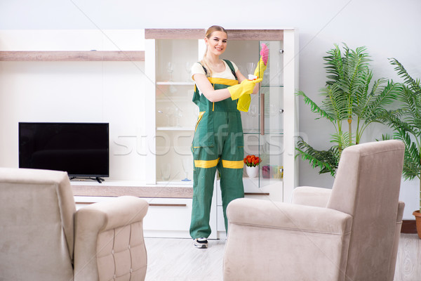 Professional cleaner cleaning apartment furniture Stock photo © Elnur