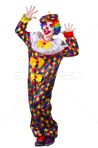 Stockfoto: Grappig · clown · geïsoleerd · witte · glimlach · gezicht
