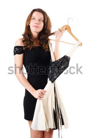 черное платье изолированный белый девушки моде Сток-фото © Elnur