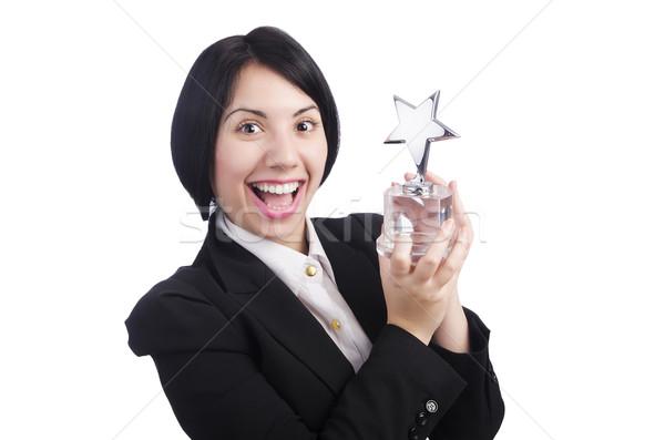 Stockfoto: Jonge · zakenvrouw · geïsoleerd · witte · haren · zakenman