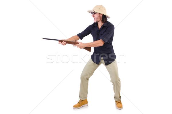 Funny hunter wearing safari hat Stock photo © Elnur