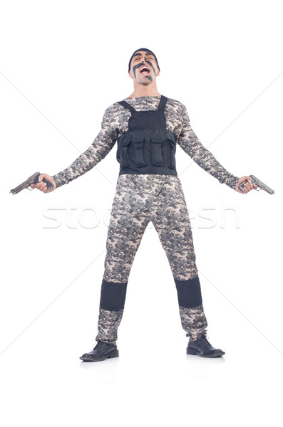 Katona izolált fehér férfi fegyver háború Stock fotó © Elnur