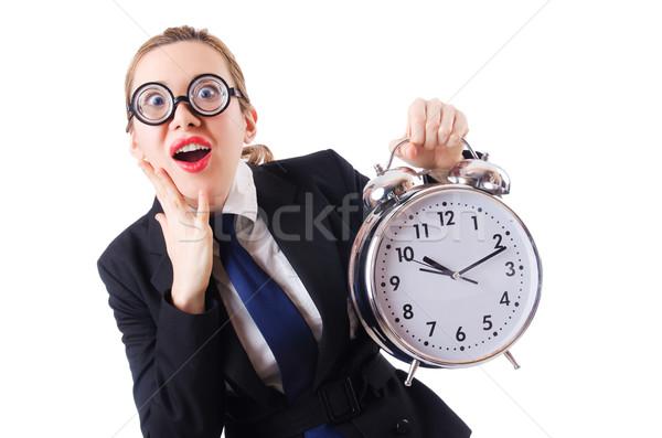 Nerd Geschäftsfrau Wecker Frau Büro Arbeit Stock foto © Elnur