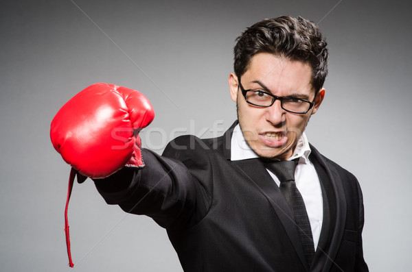 Stock photo: Funny boxer businessman in sport concept