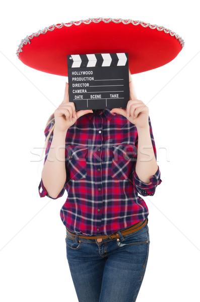 Stok fotoğraf: Komik · Meksika · geniş · kenarlı · şapka · kadın · film · video