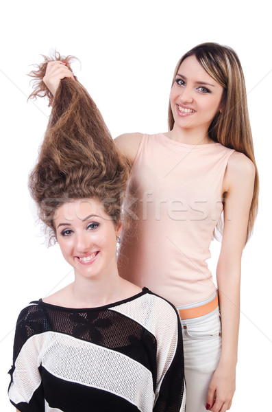 Two female friends isolated on the white Stock photo © Elnur