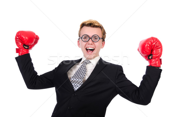 Jonge zakenman bokser geïsoleerd witte business Stockfoto © Elnur